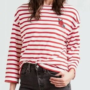 Levi's Embroidered Rose Striped Boat Neck Tee M